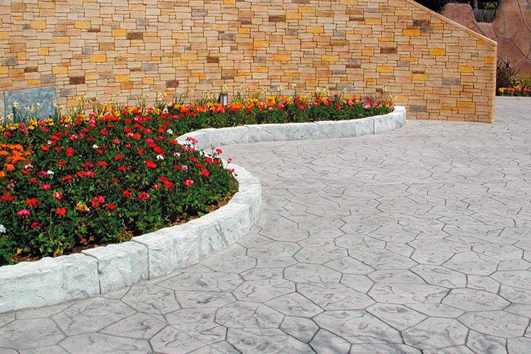 花壇とスタンプコンクリート